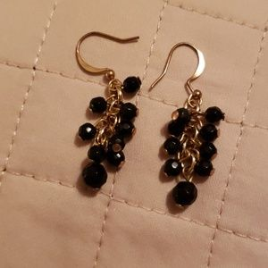 Jewelry - GOLDTONE EARRINGS with BLACK BEADS